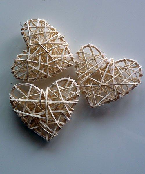 Coeur Rotin Blanc Mariage