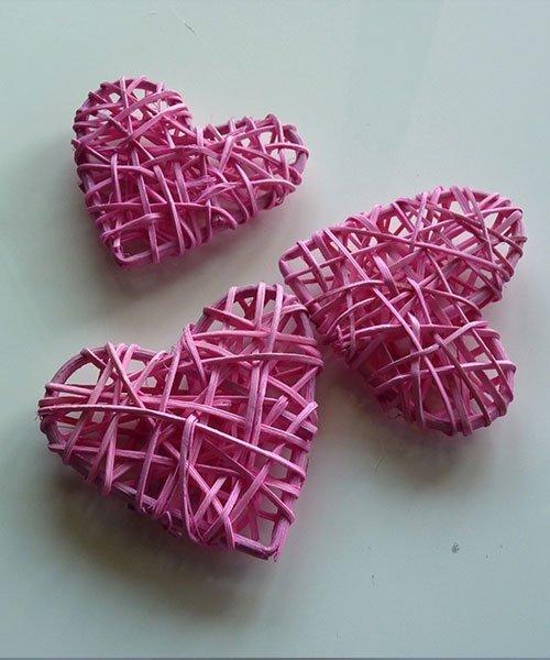Coeur Rotin Rose Mariage