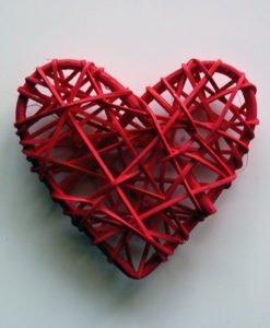 Coeur Mariage Rotin Rouge