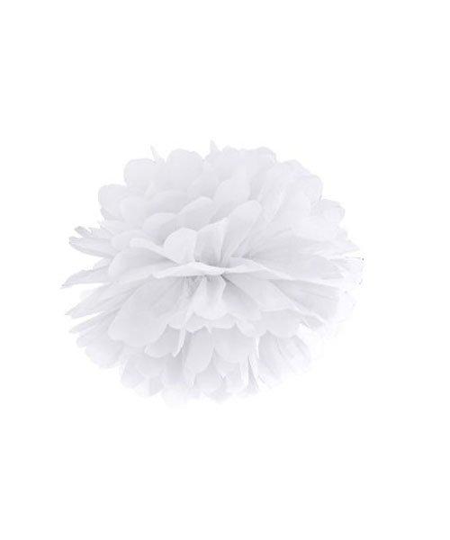 Pompon Blanc Mariage 15cm