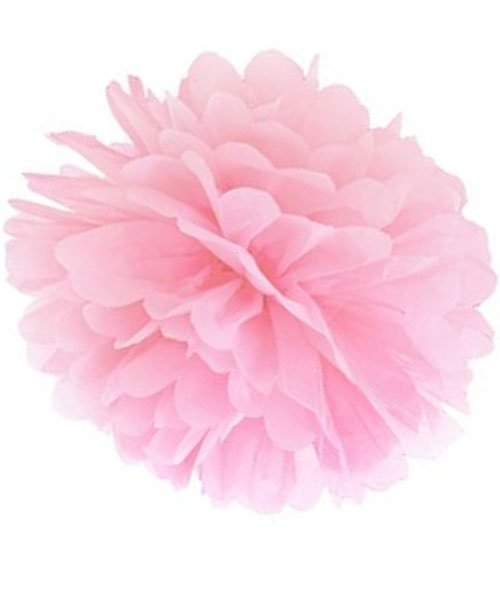 Pompon Rose Mariage 25Cm