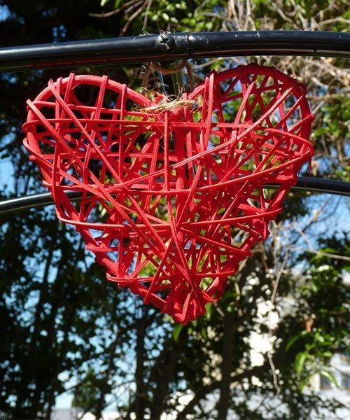 Coeur Rouge Rotin Deco Mariage