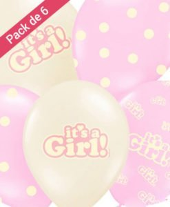 6 Ballons It's a girl Baby Shower Fille