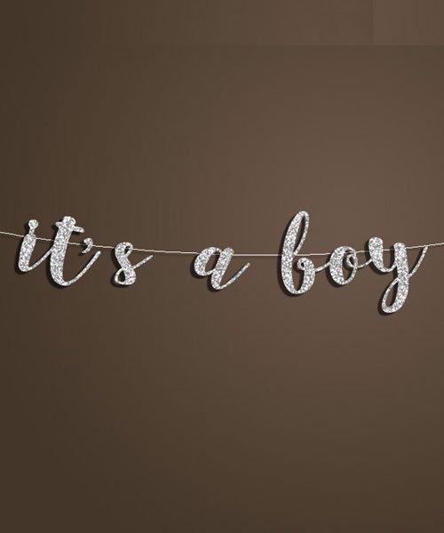 Banniere Lettres Argent It's a boy Baby Shower Garcon