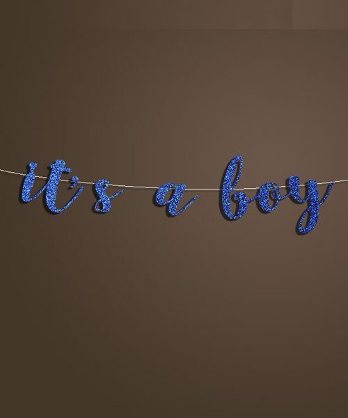 Banniere Lettres Bleu It's a boy Baby Shower Garcon