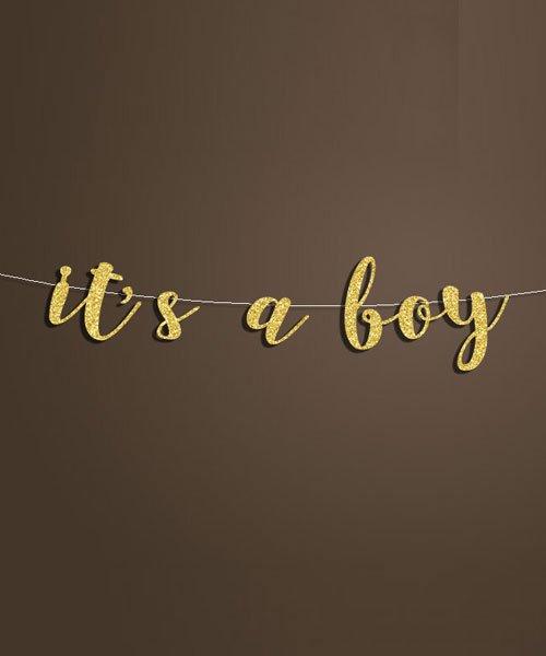 Banniere Lettres Or It's a boy Baby Shower Garcon