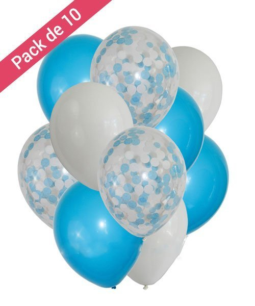 Ballons Confettis Baby SHower Garçon