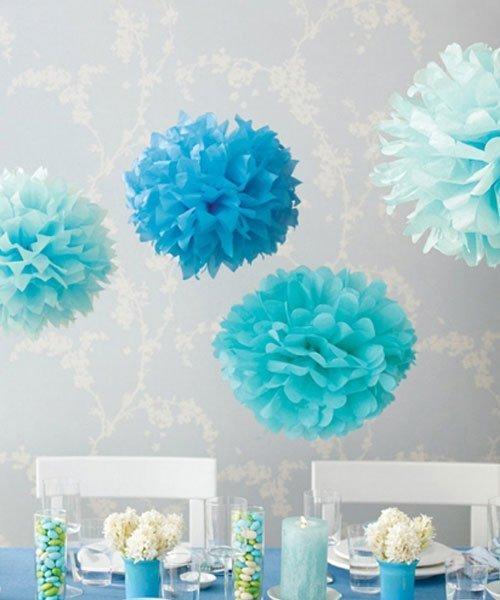 Décoration Pompon Bleu
