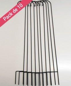 Pack 10 piquets Cérémonie 120 cm noir