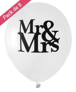 Ballons Blancs Mariage Mr & Mrs