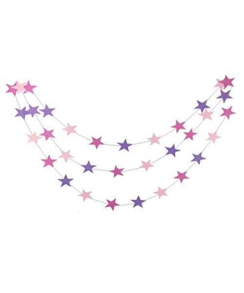 Guirlande etoiles roses de 4 m tres pour baby shower fille - Guirlande baby shower ...