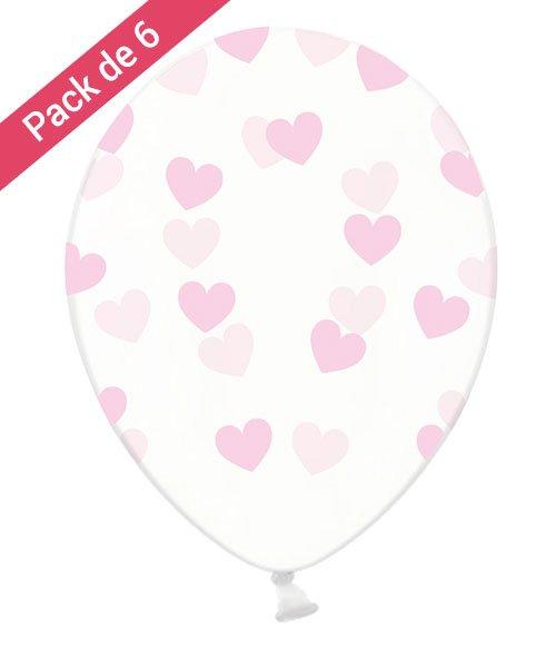 Pack 6 ballons avec Coeur Roses