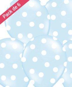 Pack 6 Ballons Bleus à Pois Blancs
