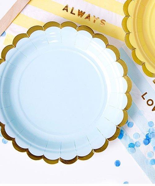 Assiettes Bleues et Or 18cm