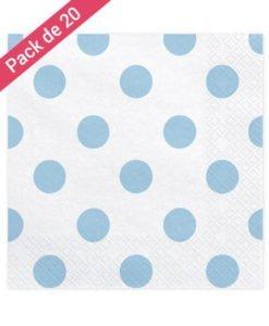 Serviettes Papier Blanches Pois Bleus
