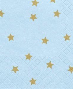 Serviettes Papier Bleue et Etoiles Or