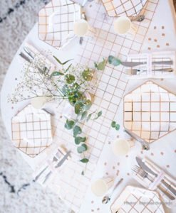Chemin de Table Lin et Rose Gold