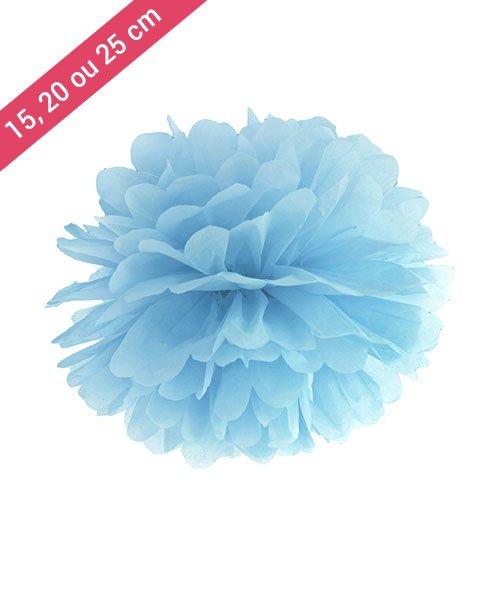 Pompon Papier Bleu Clair