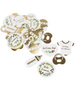 Confettis Babyshower blanc et or