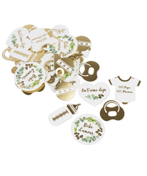 100 Confettis Blanc et Or - Collection Bébé d amour - % 395c2e50d5e