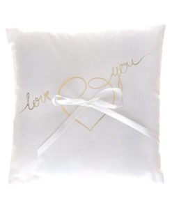 Coussin Love You Blanc et Or