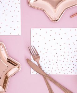 Serviettes Blanches Rose Gold