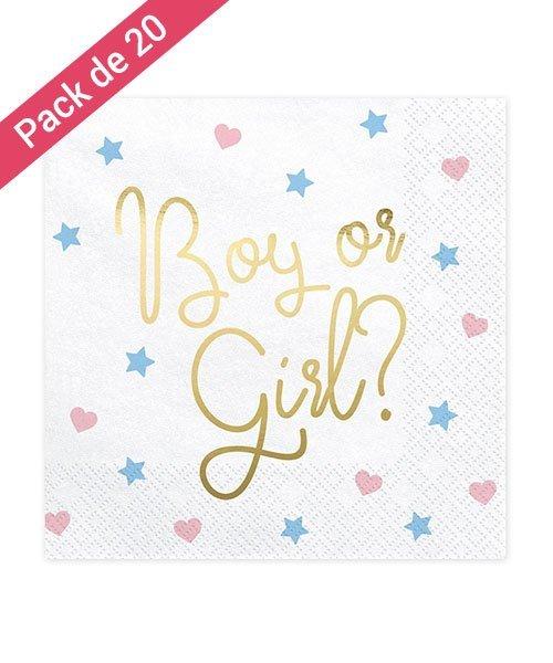 Serviettes Papier Blanches Boy or Girl