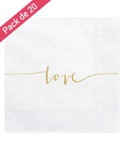 Serviettes Blanches Love Or