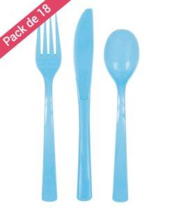 Couverts Bleus en Plastique