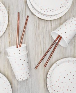 Assiettes Blanches Points Rose Gold