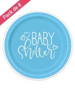Assiettes Bleues et Blanches Baby Shower