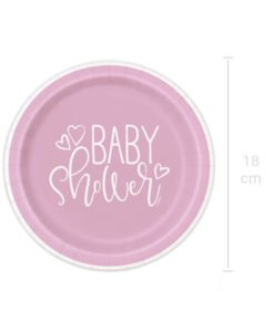 Assiettes Roses et Blanches Baby Shower