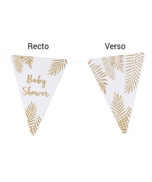 Fanions Blancs et Or pour Baby Shower