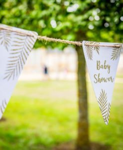 Fanions Blancs et Or pour Baby Shower