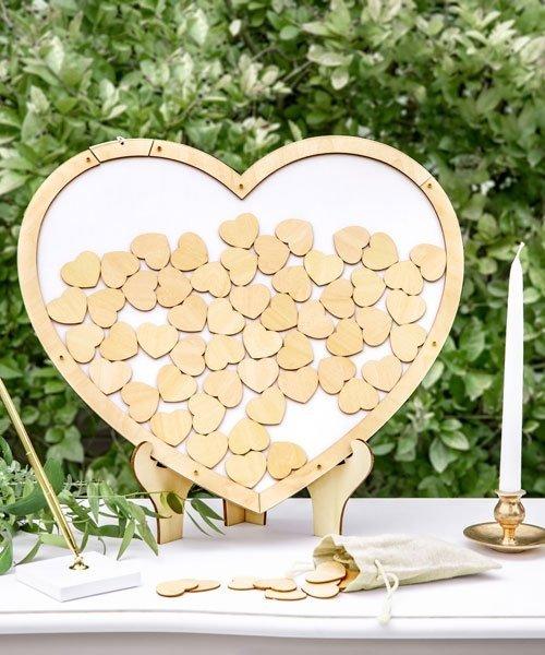 Livre d'or Coeur Cadre Bois