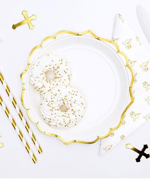Assiette Blanche et Or Bapteme