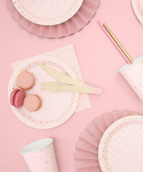 Assiettes Roses Points Or Anniversaire Baby Shower