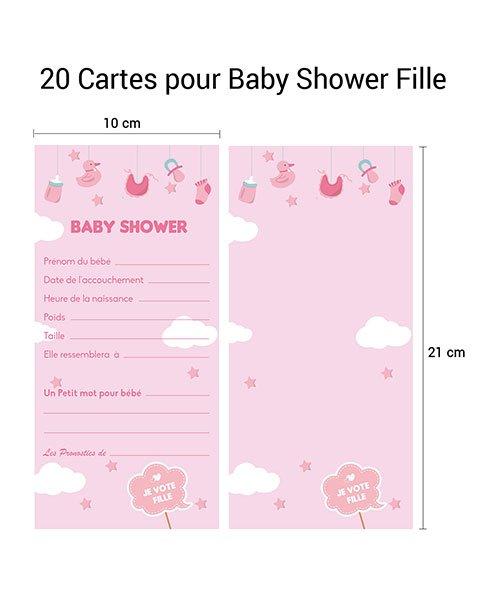 Cartes Pronostics Baby Shower Fille