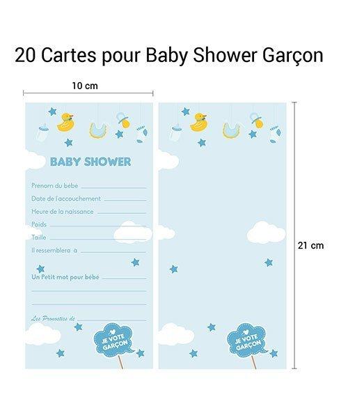 20 Cartes Pronostics Baby Shower Garçon