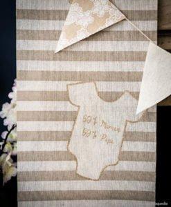 Chemin de Table Lin Beige pour Baby Shower