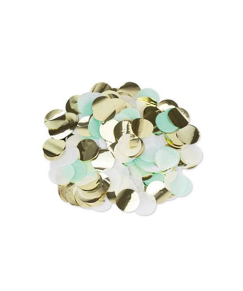 Confettis Papier Green Mint Or