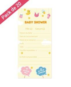 Carte Pronostic Baby Shower Mixte
