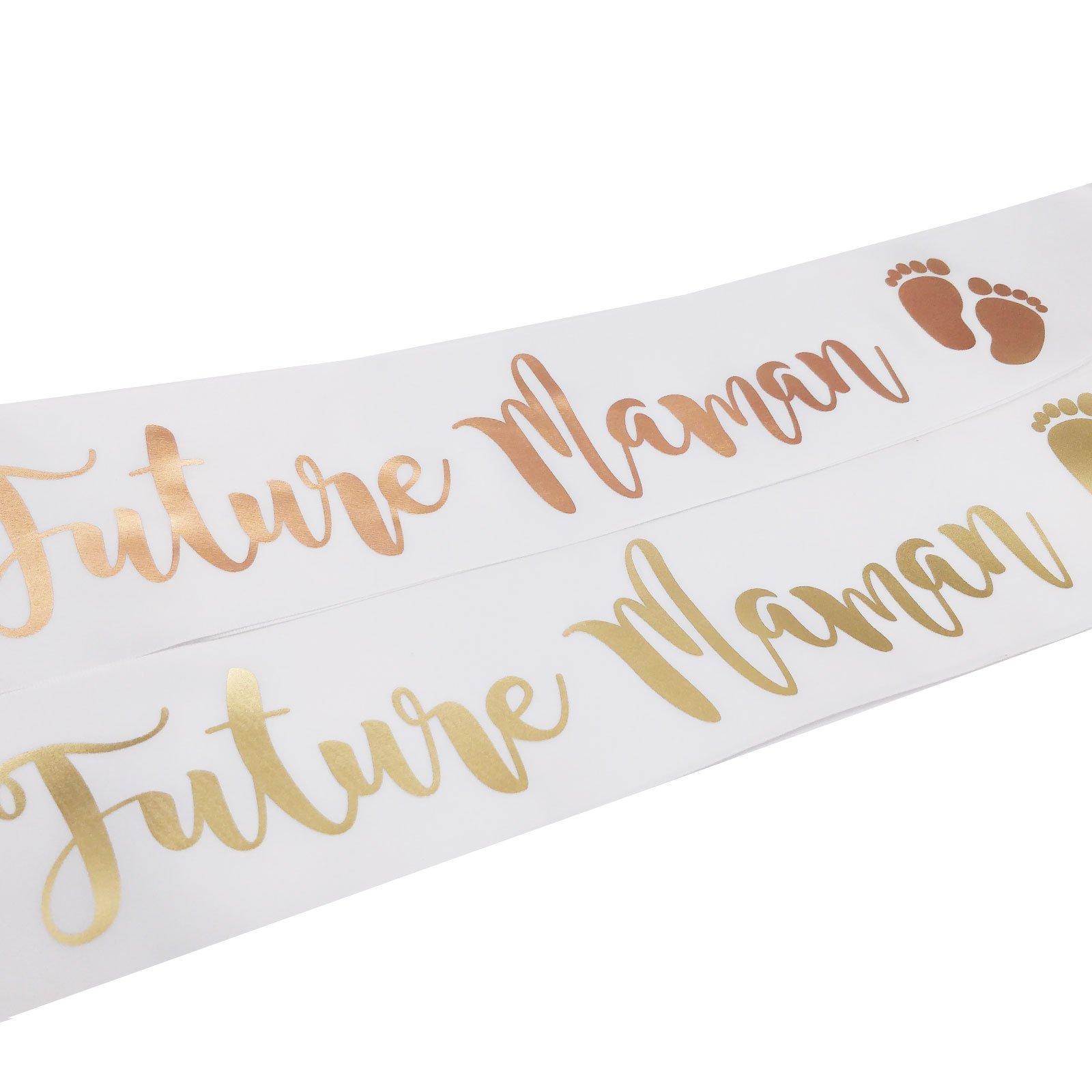 Baby Shower Cadeau Futur Maman echarpe blanche et rose gold future maman pour baby shower