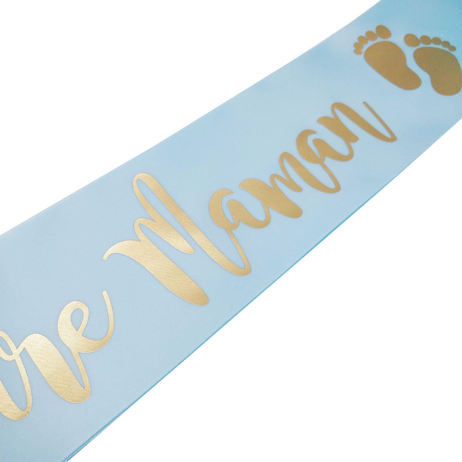 Baby Shower Cadeau Futur Maman echarpe bleue et or future maman pour baby shower