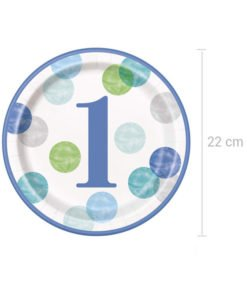 8 Grandes Assiettes 1 An Garcon Collection Dot Birthday Olili