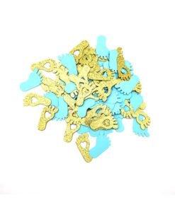 Confettis Pied Bébé Bleu et Or