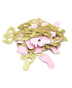 Confettis Pied Bébé Rose et Or