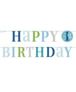 Guirlande Bleue Happy Birthday 1 an Garcon