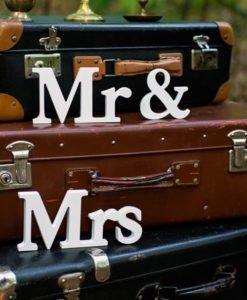 Lettres Bois Blanc Mr & Mrs