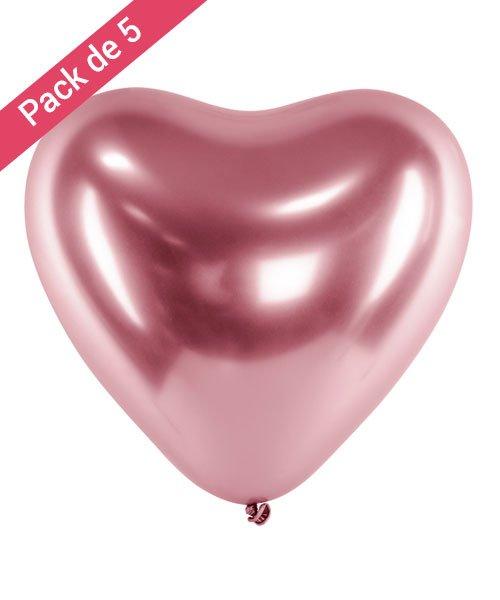 Ballon Latex Coeur et Rose Gold
